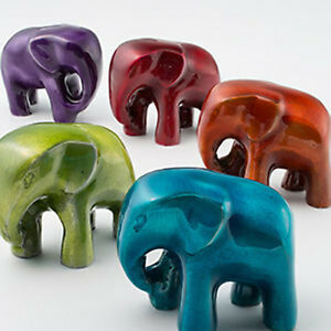 Fair Trade Recycled Aluminium Elephant Paperweight/Ornament Choice Of 5 Colours