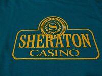 Vintage SHERATON CASINO Hotel Travel LOGO T Shirt Fast FREE Shipping sz Medium