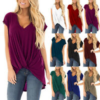 Women Short Sleeve Summer V Neck Tee Blouse Tops T-shirt Loose Shirts Plus Size