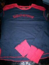 NEW HARLEY DAVIDSON WOMENS MISSES L/S EMBROIDERED T SHIRT-BLUE/RED-MED FREE SHIP