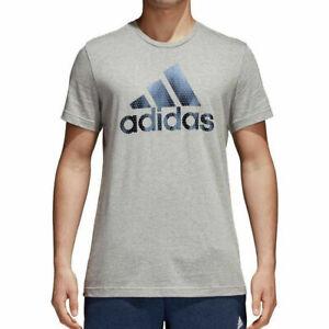 adidas Mens T Shirt Grey Badge Of Sport Bos Foil Logo Fitness Top CV4506