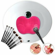 Rose Red Silicone Makeup Brush Cleaner Cleaning Scrubber Board Mat Pad Tool