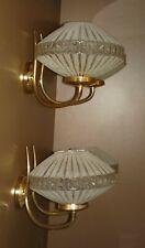 Paire applique DOUBLE vintage LUNEL? ARLUS? métal doré & verre granuleux 1960