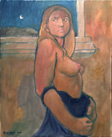 """Nude Female Abstract Large Original Oil Painting, 30""""x24"""" Signed on Canvas"""
