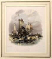 1836 ANTIQUE PRINT - MOUNTED - SUNDERLAND LIGHT HOUSE SOUTH PIER- HAND COLOURED