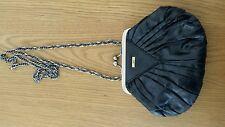 JAG Black Smaĺl Evening Metallic Handbag -Chain Handle Brass Gold Shell Shape