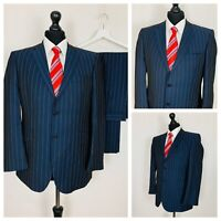 Mens Suit 38S 34W 29L Dark Blue Pinstripe Formal Business  OR888