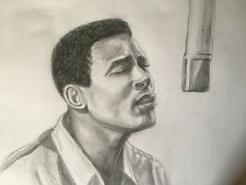 Marvin Gaye  drawing painting , in the studio, from 1965 RARE