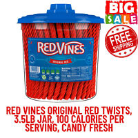 Red Vines Original Red Twists, 3.5lb Jar, 100 Calories Per Serving, Candy Fresh