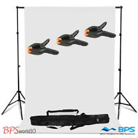 Photo Studio White Background Backdrop Stand Support Kit Carrycase 3 Clamps UK