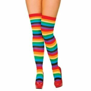RAINBOW HOLD UP STOCKINGS Girls Ladies Tights LGBT Pride Fancy Dress Socks UK