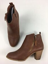 WOMENS DOROTHY PERKINS TAN BROWN FAUX LEATHER BLOCK HEEL ANKLE BOOTS UK 5 EU 38