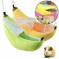Hamster Banana Shaped Hammock Small Pet Gerbil Rat Mouse Hanging Nests w/ Chain