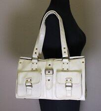 Vegan Vtg Hip Mod Style Vinyl Off White Faux Leather Purse Shopper Tote Work Bag