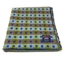 Pure Wool Tweed Blanket/Bedspread/Throw Blue Green Spotted Reversible