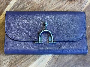 Hermes Purple Leather Long Watter Purse Grain Leather