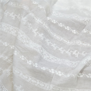Off white Lace Cotton Fabric Striped Embroidery Cloth DIY Wedding Dress By Yard