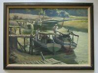 SIGNED 1960'S NAUTICAL PAINTING FISHERMAN BOATS MARINA MYSTERY ARTIST VINTAGE