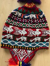 PERUVIAN CHULLO HAT WITH BEADS MULTICOLOURED RAVE FESTIVAL  HAND MADE ^9