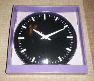 2 x LONDON CLOCK COMPANY WALL CLOCKS  BLACK & GLASS CLOCK DIAM 30cm NEW
