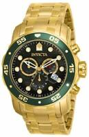 Invicta Men's Pro Diver Quartz Chronograph Gold Tone Watch Black MOP Dial 80074