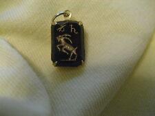 Vintage Zodiac sign CAPRICORN etched intaglio glass cabochon pendant