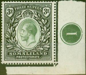 Somaliland 1919 3R Green & Black SG71 Fine Very Lightly Mtd MInt Pl 1 Side Ma
