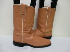 Justin Peach Leather Roper Cowboy Boots Womens Size 8 B Style L3093 USA