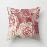 Cushion Pillow Case Pink Rose Floral Cover 18'*18' Home Decor Gift UK stock