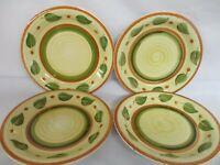 4 Dinner Plates, Botanical Leaves Print, Brown & Green, 26cm Dia, Unused