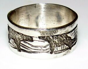 Navajo Storyteller Ring Size 10 Sterling Silver Signed Band Elaine Becenti