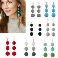Fashion Thread Three Large Round Balls Dangle Drop Hook Earrings Women Jewelry