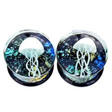 """Pair Jellyfish Glass Stone Ear Gauges Stretching Plugs 0g-5/8"""" Tunnels Earrings"""