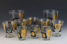 10 Pc VTG Mid Century Modern Federal Black Gold Coin Bar Glass Set Old Fashioned