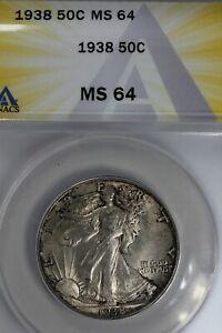 1938  .50  ANACS  MS 64  Walking Liberty, Half Dollar, Lady Liberty Half