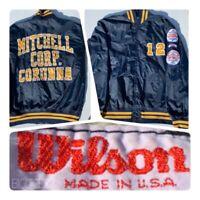 VTG 80s ASA Wilson Softball Mens 46 Navy Nylon Jacket Baseball Coat Bomber