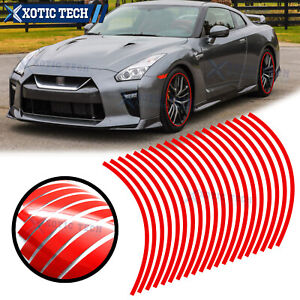 20x Red Glossy Reflective Vinyl Wheel Rim Decal Tape Stripe For Nissan 370z GTR