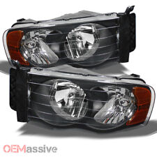 Fits 02 05 Ram 1500 2500 3500 Pickup Amber Black Headlights Lamps Replacement