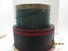 2 Vintage Hat Boxes Large Navy Vinyl, Zippered & Green Lockhart's Inc.