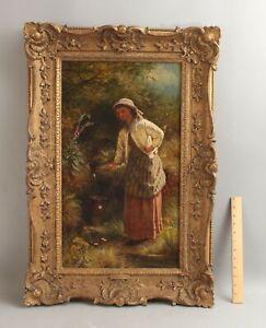 19thC Antique Signed Portrait Oil Painting, Farm Maiden Woman w/ Water Jug NR