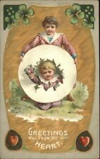 Valentine - Cute Kids Bust Through Paper c1910 Postcard