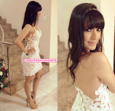 Hot WomenSexy Backless Straps Lace Beige&White Club Party Cocktail  Mini Dress