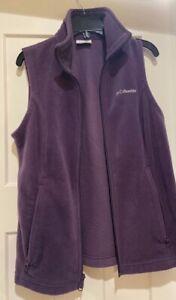 Columbia Purple Fleece Vest Full Zip Womens Size M Medium Very Soft