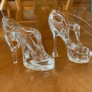 Acrylic High  Heel Shoe Christmas Ornaments Clear Set Of 2 Acrylic Stiletto 5""