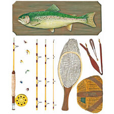 Tatouage Fly Fishing Kit with trout Dry rub Transfer