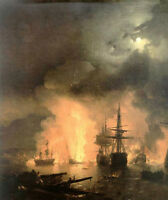 Oil Ivan Constantinovich Aivazovsky - Russia Battle of Chesma in moon night 36""