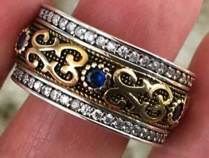 Natural Blue Sapphire & Diamond 925 & 14K Yellow gold ring Size 10 band celtic