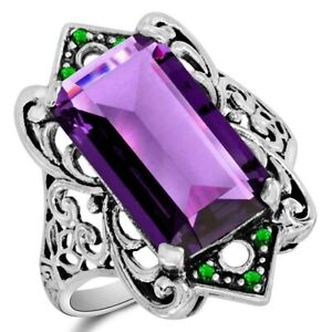 12CT Amethyst & Emerald Quartz 925 Sterling Silver Filigree Ring Sz 6 WF3