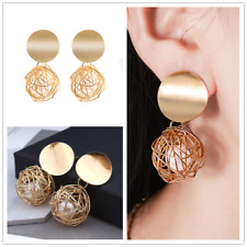Fashion Women Gold Plated Round Hollow Pearl Dangle Drop Earrings Stud Jewelry
