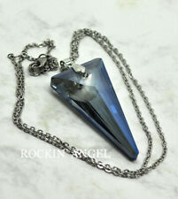 Montana Blue Austrian Crystal Triangle Pendant Necklace Ladies Gift Reiki Gem